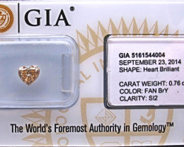 0.76ct  Heart Diamond - Natural Fancy Brown Yellow - GIA certified  SI