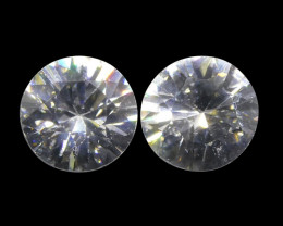 1.83 ct Round White/Clear Zircon Pair