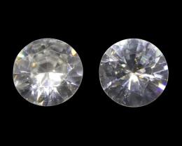1.76 ct Round White/Clear Zircon Pair