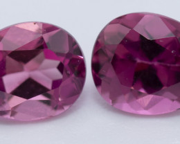 REDUCED 1.40 CTS, A PAIR OF RUBELLITE, PEAR SHAPED