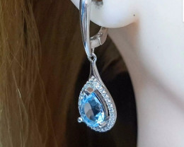 Exceptional Nat 4.40 tcw Genuine  Swiss Baby Blue Topaz Earrings Heated