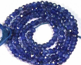 18.15 Cts Natural Deep Blue Iolite Beads Tanzania - 35 cm and 3.0x2.7 mm