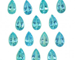 3.18 Cts Natural Apatite - Paraiba Blue Green 5x3mm Pear Cut 14Pcs Brazil