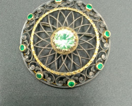 Antique. Emerald. & Gold Broach