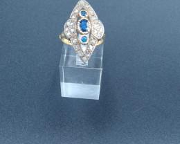 Antique Marquise Sapphire & Diamond Gold Ring