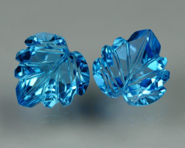 5.865 CRT LOVELY SWISS BLUE TOPAZ CARVING-