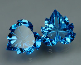 9.645 CRT LOVELY SWISS BLUE TOPAZ CARVING-