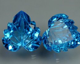 12.325 CRT LOVELY SWISS BLUE TOPAZ CARVING-