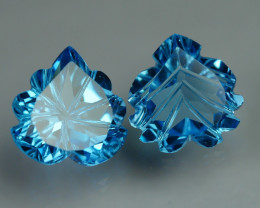9.775 CRT LOVELY SWISS BLUE TOPAZ CARVING-