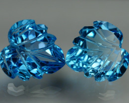 11.085 CRT LOVELY SWISS BLUE TOPAZ CARVING-