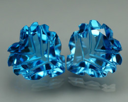 10.175 CRT LOVELY SWISS BLUE TOPAZ CARVING-