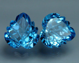 11.150 CRT LOVELY SWISS BLUE TOPAZ CARVING-
