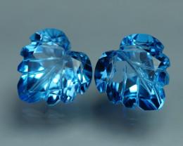 7.555 CRT LOVELY SWISS BLUE TOPAZ CARVING-