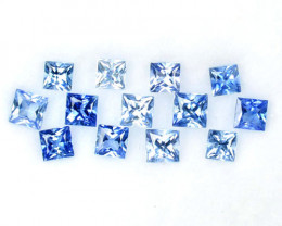 0.89 Cts Natural Blue Sapphire 2.1-1.8mm Princess Cut 13Pcs Sri Lanka