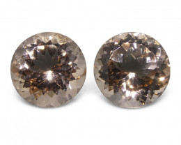 7.03 ct Round Morganite Pair