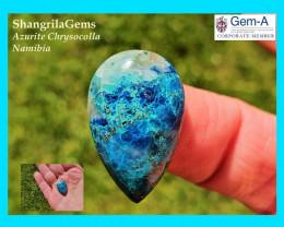 24mm 20ct Azurite Chrysocolla Namibia cabochon pear drop shape