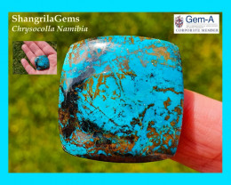 29mm 47ct Azurite Chrysocolla cuprite Namibia cushion square cabochon