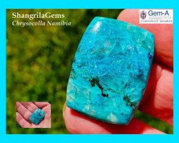 30mm 47ct Azurite Chrysocolla Namibia cushion oblong cabochon