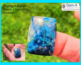 25mm 30ct Azurite Chrysocolla quartz Namibia cushion oblong