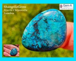 28mm 24ct Azurite Chrysocolla cuprite Namibia cabochon freeform shape