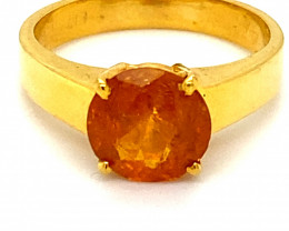 Clinohumite 2.43ct Solid 18K Yellow Gold Solitaire Ring