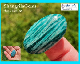 31mm Amazonite cabochon oval 31 by 18 by 7mm 34ct