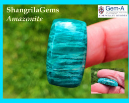 26mm Amazonite cabochon cushion oblong 26 by 15 by 7mm