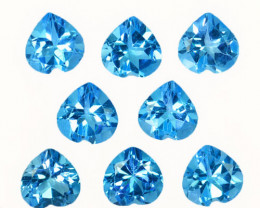10.96Cts Natural Baby Blue Topaz 7mm Heart Calibrated Parcel