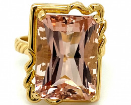 Morganite 16.47ct Solid 18K Yellow Gold Solitaire Ring