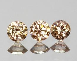 ~UNTREATED~ 0.16 Cts Natural Peach Diamond Round Cut 3Pcs SET Africa