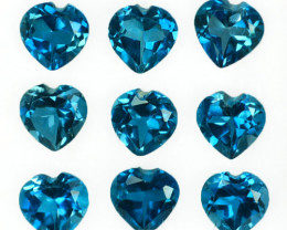 ~LOVELY~ 5.06 Cts Natural London Blue Topaz 5mm Heart Cut 9Pcs Brazil
