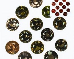 ~PRETTY~ 21.82 Cts Natural Color Change Garnet 13Pcs Round Cut Tanzania