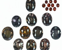 ~AWESOME~ 18.44 Cts Natural Color Change Garnet 11Pcs Oval Cut Tanzania
