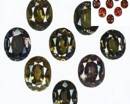 ~STUNNING~ 16.30 Cts Natural Color Change Garnet 8Pcs Oval Cut Tanzania