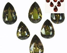~DAZZLING~ 12.60 Cts Natural Color Change Garnet 6Pcs Pear Cut Tanzania