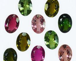6.75 Cts Natural Fancy Color Tourmaline 7x5mm Oval 10Pcs Mozambique