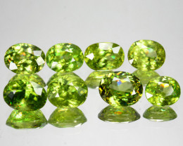 10.95 Cts Natural Sparkling Radium Green Sphene 8Pcs Oval Cut Russia