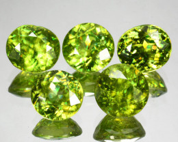 7.25 Cts Natural Sparkling Radium Green Sphene 5Pcs Oval & Round Russia