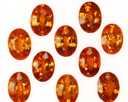 10.60 Cts Natural Fanta Orange Spessartite Garnet 7x5mm Oval 10Pcs Namibia