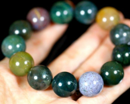 504.5Ct Natural Gorgeous Indian Agate Healing Crystal Stretch Mala Bracelet