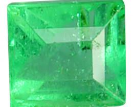 Natural Vivid Green Emerald Square Cut Colombia 0.42 Cts