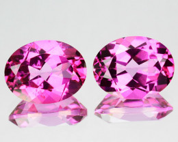~PAIR~ 5.92 Cts Candy Pink Natural Topaz 10x8mm Oval Cut 2 Pcs Brazil