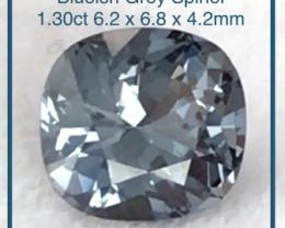 Pretty Precision Cushion Cut 1.30ct Blue Grey Spinel - Burma Ref 2241