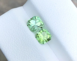 1.85 Ct Natural Green Transparent Tourmaline Gems Pairs