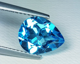3.07 ct Top Quality Gem Stunning Pear Cut Swiss Blue Topaz