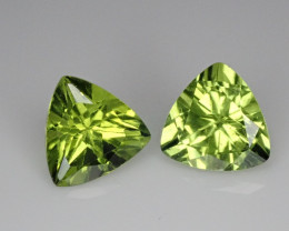 2.96tcw Peridot Trillion Pair