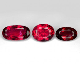 6.60 Cts 3pcs Un Heated Pinkish Red Natural Rubellite  Loose Gemstone