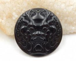 88cts carved gemstone pendant ,lion pendant ,natural obsidian ,gemstone G44