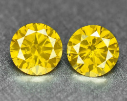 0.38 Cts 2PCS Sparkling Rare Fancy Vivid Yellow Color Natural Loose Diamond