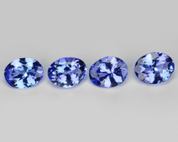 1.38 Cts 4pcs Oval 5x4 mm Violet Blue Color Natural Tanzanite Gemstone